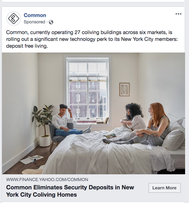"a screenshot of an ad for ""common"""