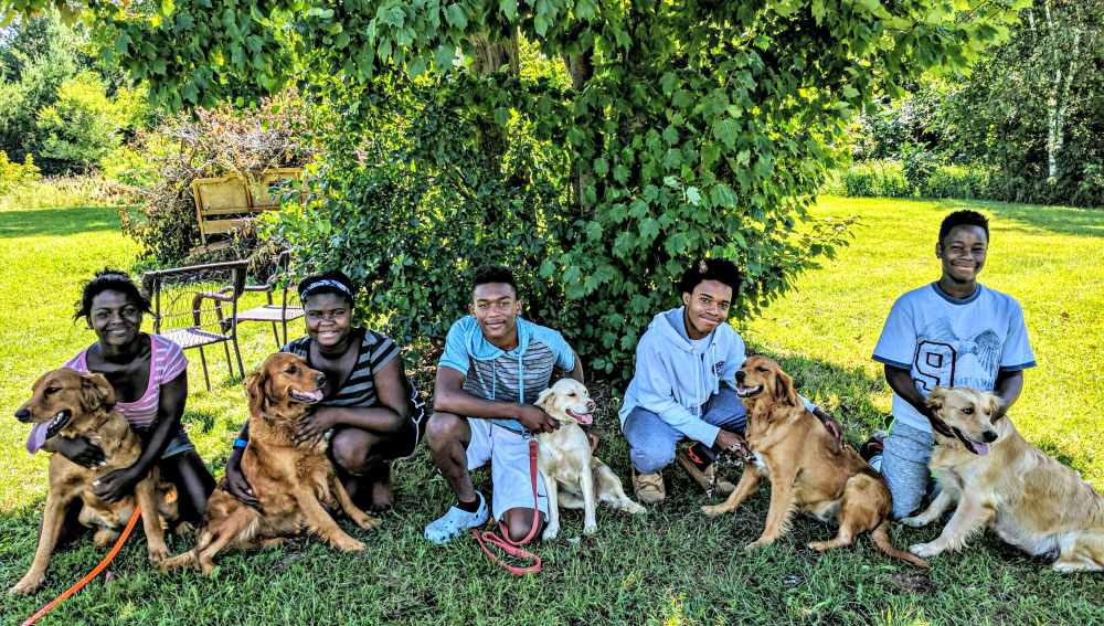 Barber Tribe with the Doodle Dog Hill dogs
