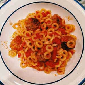 spaghetti o's and mini meatballs
