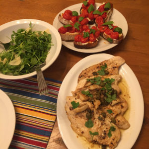 garlicky chicken in a lemon anchovy sauce