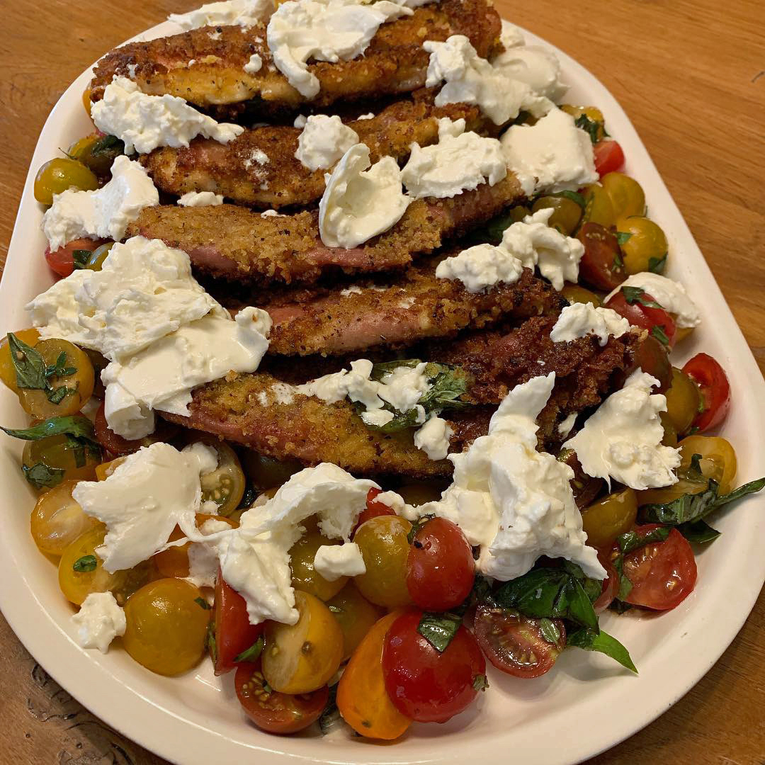 chicken saltimbocca with marinated tomatoes and burrata