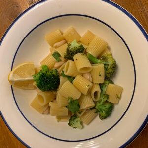 white bean piccata pasta with broccoli