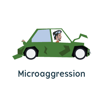 Man angry in car representing microagression