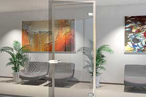 Image shows a glass swing door