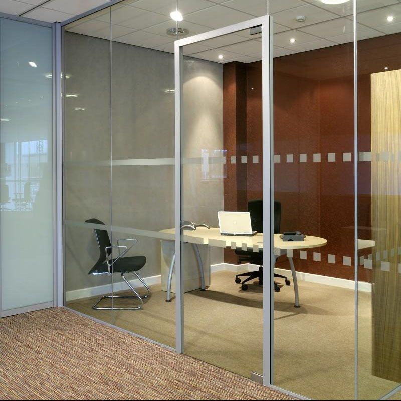 Brisk Architectural single glazed glass partition with glass swing door