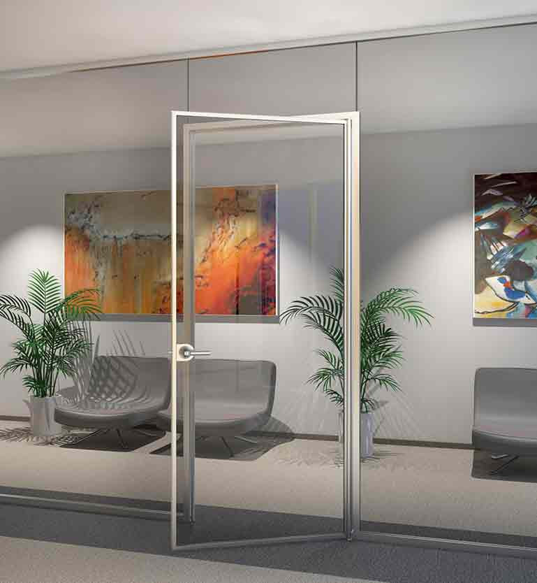 Minimal framed door with a continuous hinge