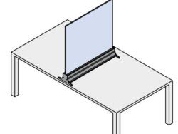 Glass barrier for desks or tables