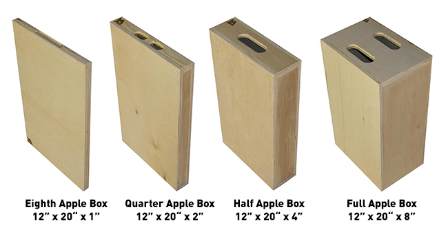 Apple Box Sizes | JR Lighting and Grip Equipment Rental