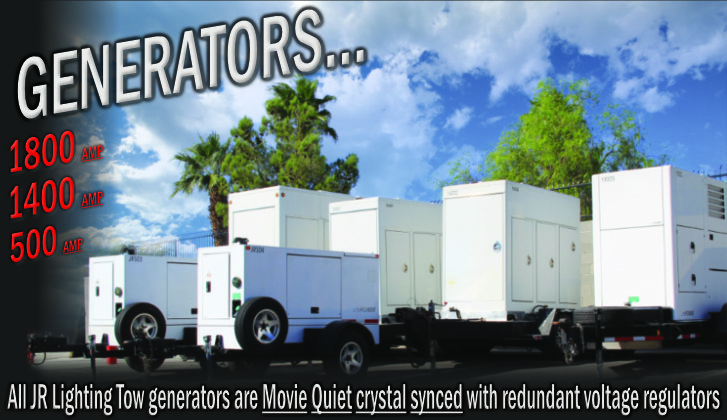 JR Lighting and Grip Rental Las Vegas | Home Slider Image | Tow Plant Generators