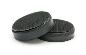 Rubberized boots with Velcro for random orbital (dual head) buffer.