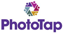 PhotoTap logo with icon circle of people making camera shutter