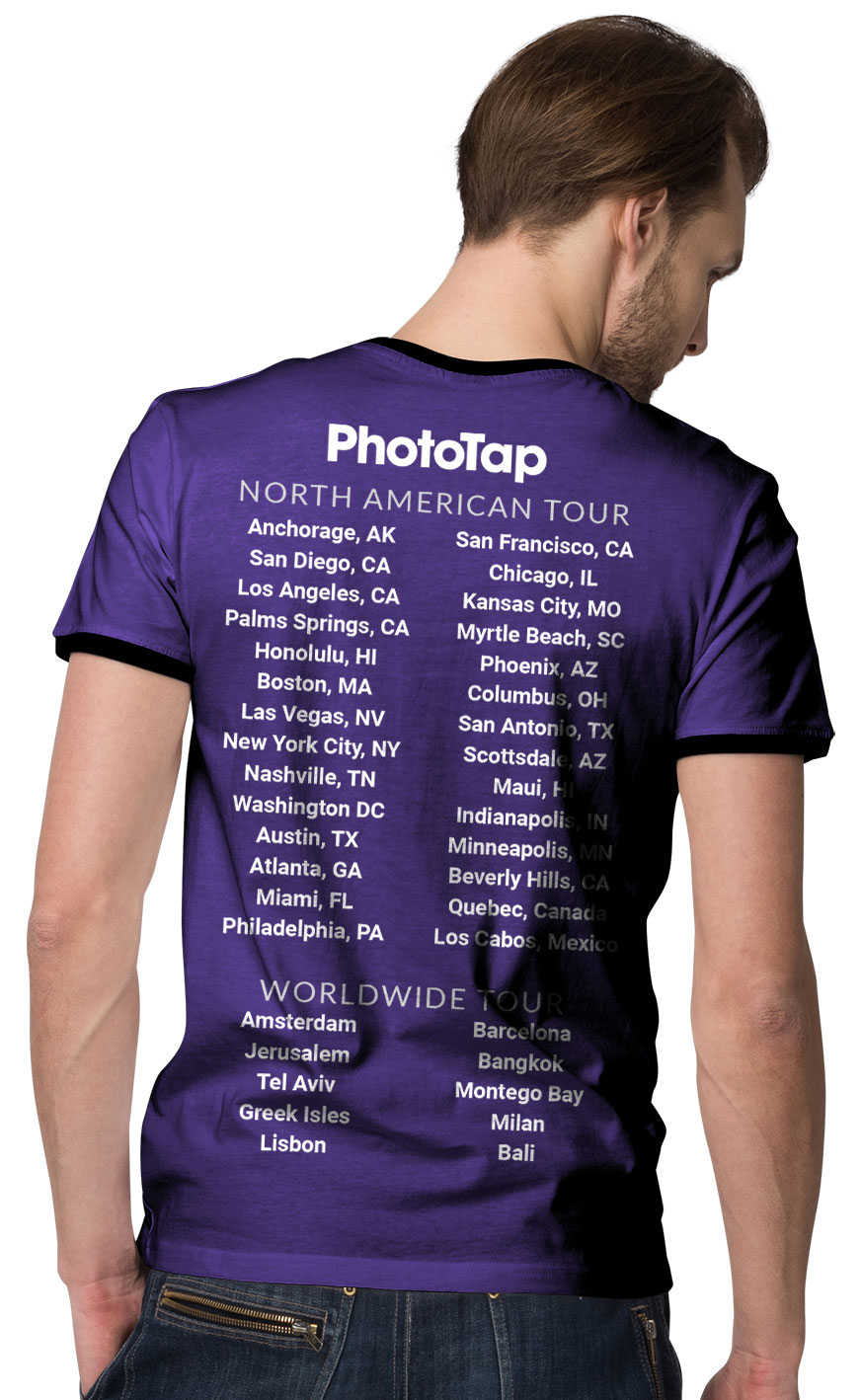 photo of a tour tshirt listing all locations PhotoTap has served