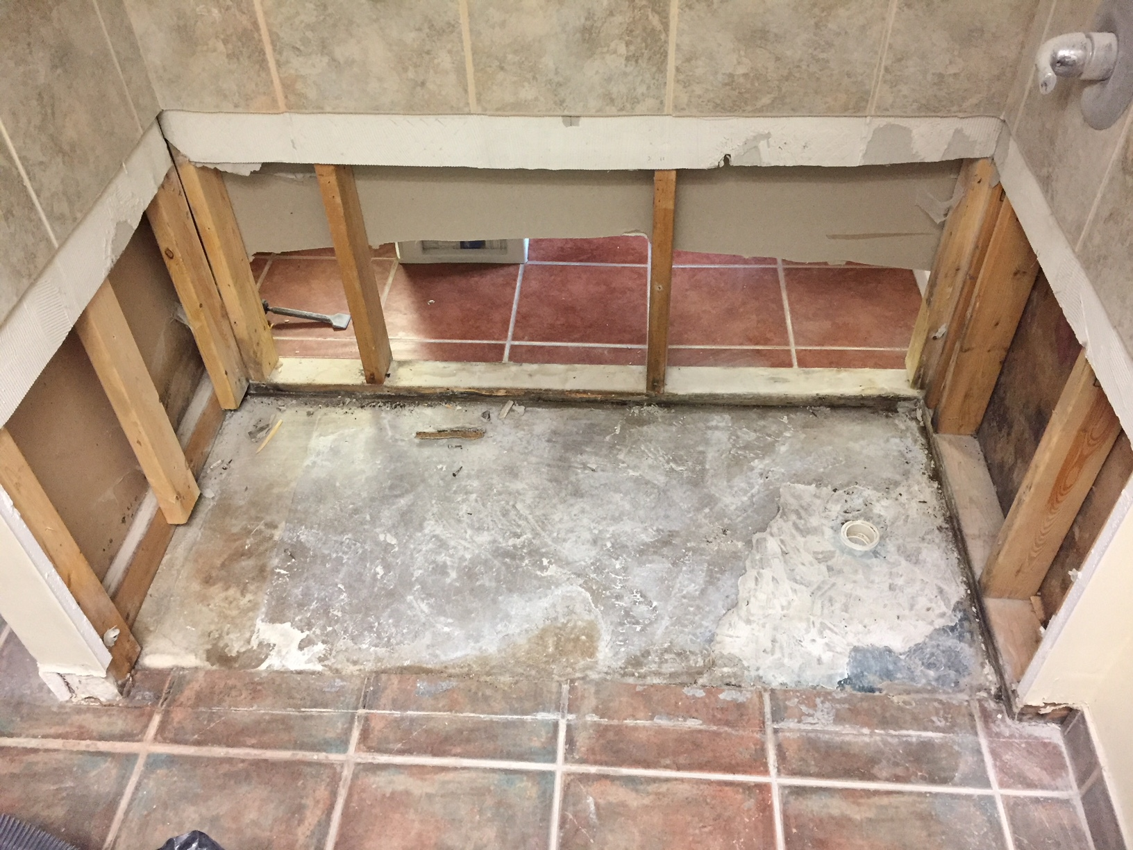 Leaking Shower Pan Repair Before