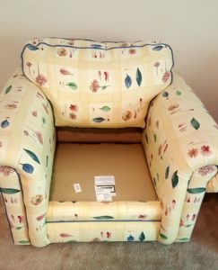 The original thrift store chair fabric.
