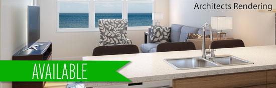 architects rendering of one bedroom apartment in Harbor Vista
