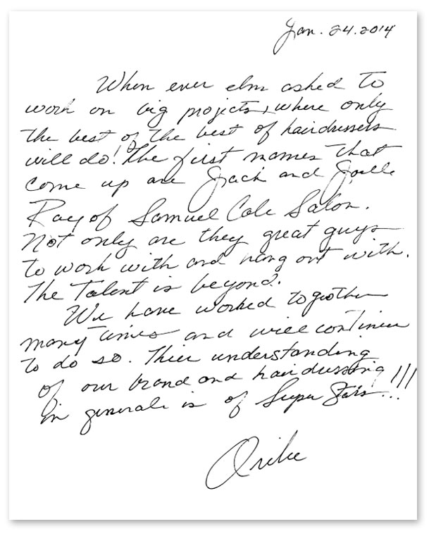 Note from Oribe to Jack and Joelle Ray at Samuel Cole Salon