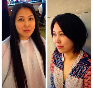 A before and after shot of stylist Denise's model