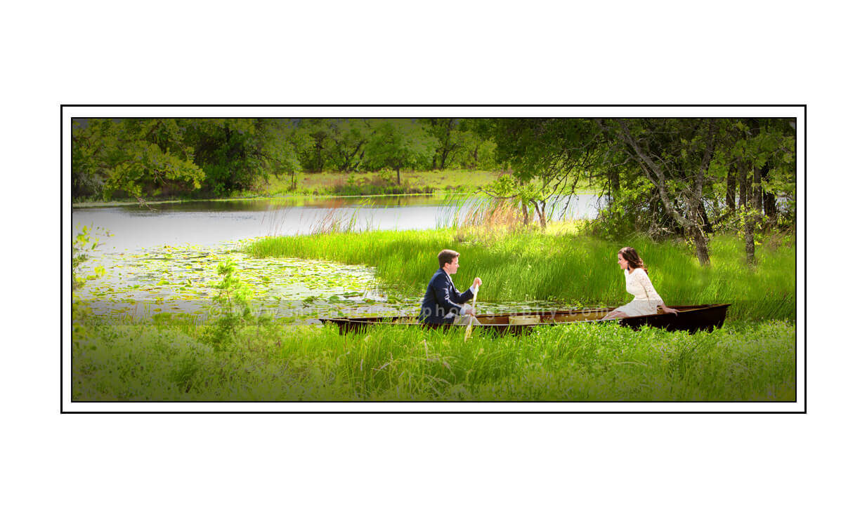 Row Boat Lake Engagement Portrait Photography