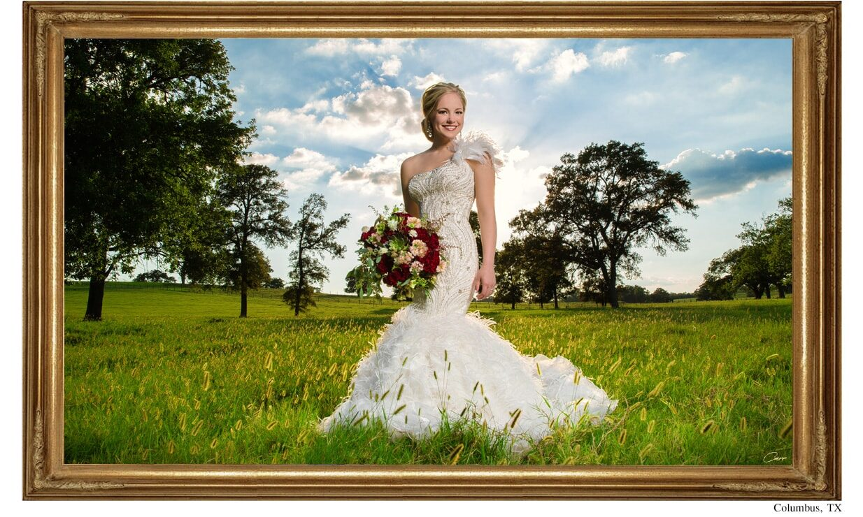 Texas Ranch bridal portrait