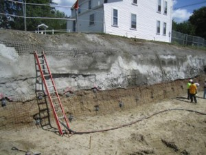 Learning Center for the Deaf, Framingham, MA using helical soil screws to stabilize retaining wall