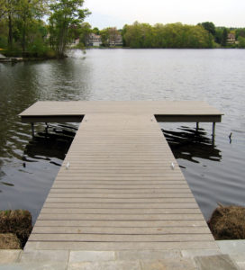 dock with helical pile support