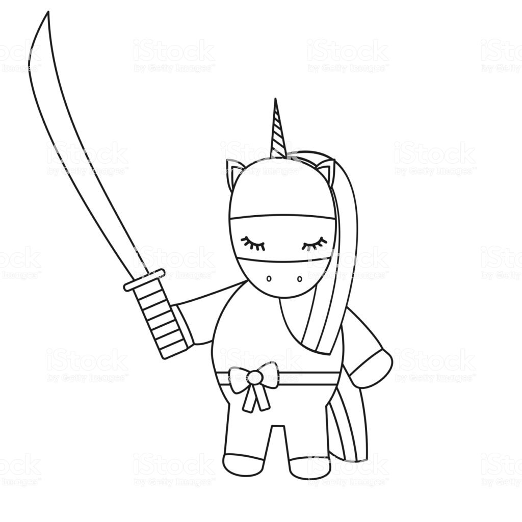 cute cartoon black and white vector ninja unicorn with sword illustration for coloring art