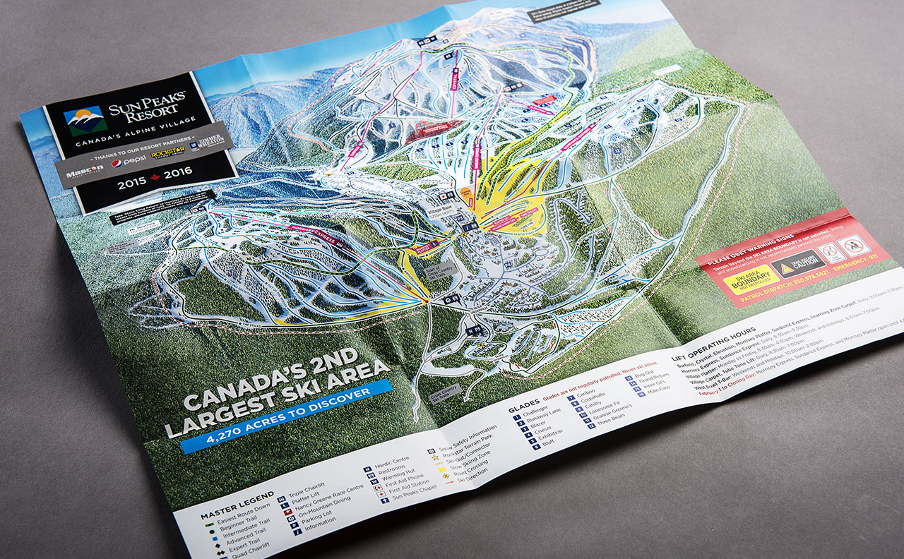 Sun Peaks Resort Trail Map Detail by HCD