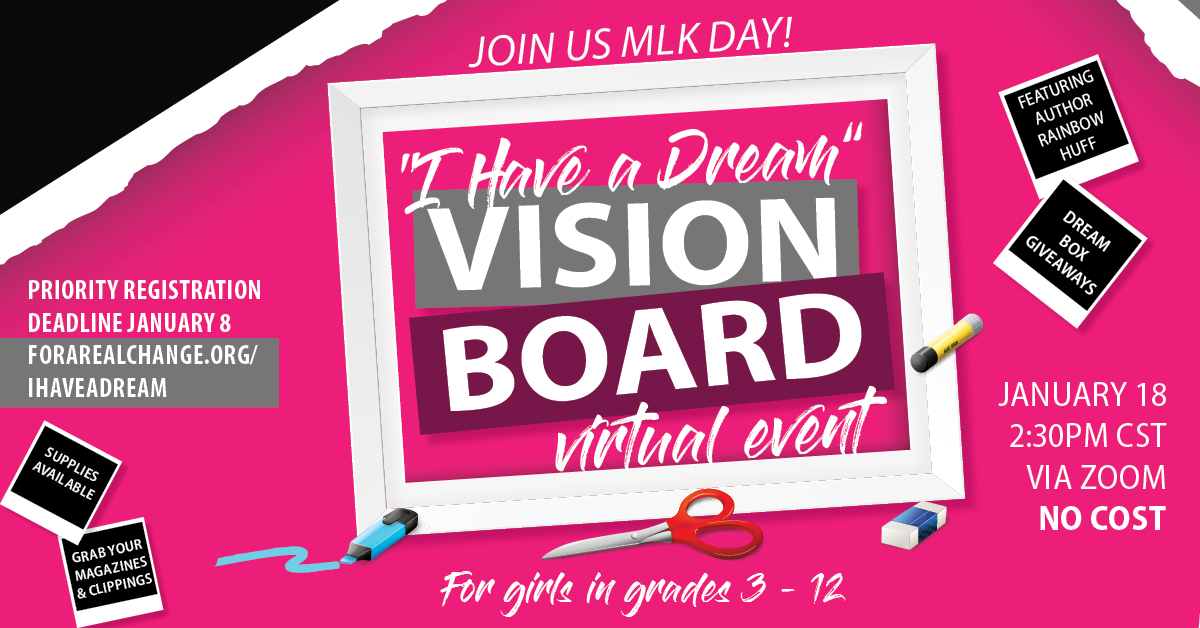 I have a dream vision board event takes place on January 18 at 2:30pm via zoom