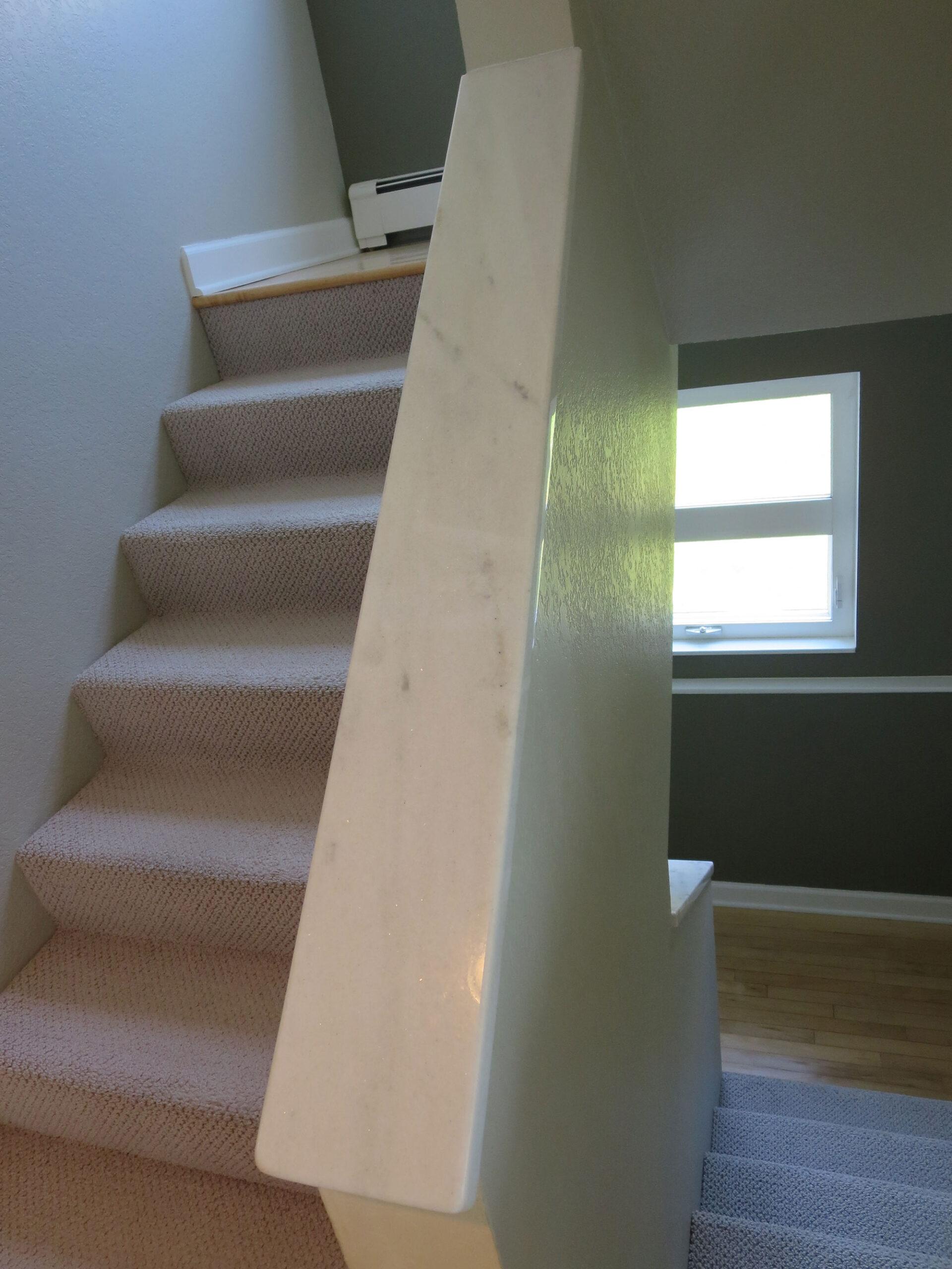 Carrara Marble Honed Staircase Rail