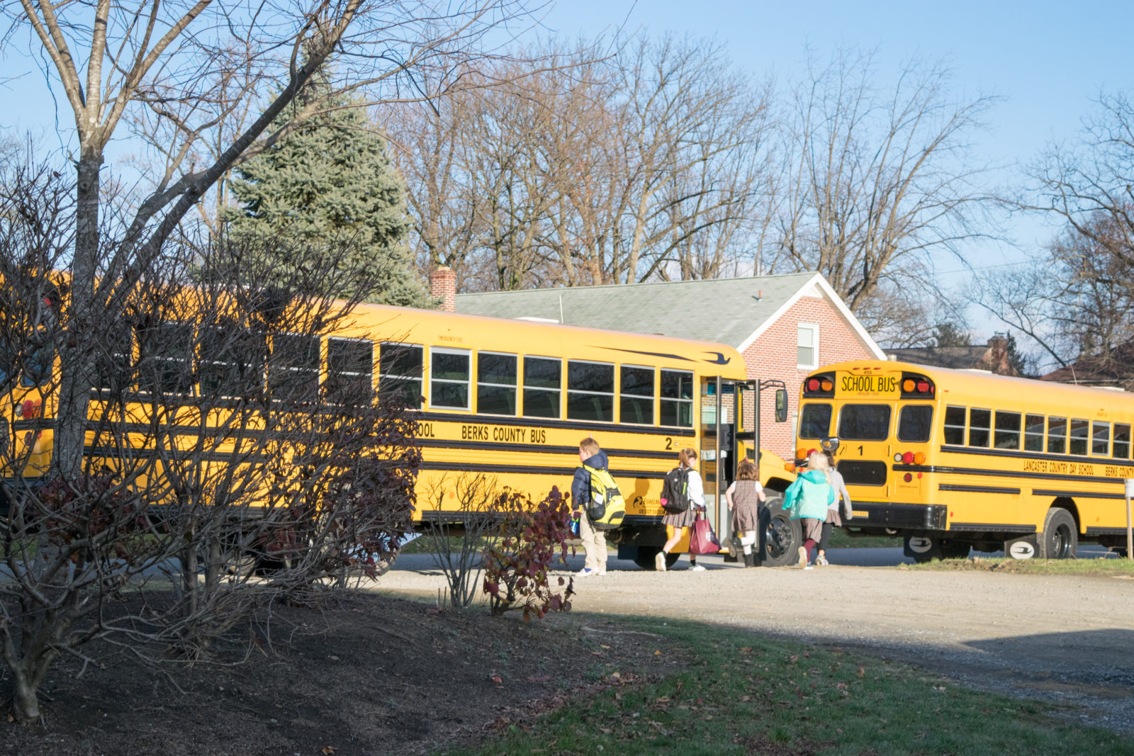 Boarding the afternoon buses.