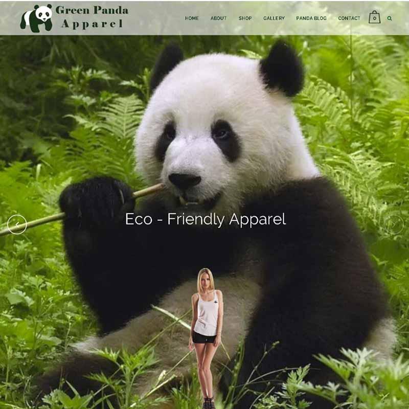 Green Panda Apparel Website Design Home Page | GET FOUND ONLINE