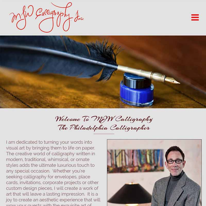 MJW Calligraphy Website Design Home Page   GET FOUND ONLINE