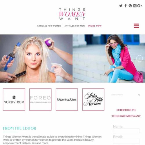 Things Women Want Website Design Home Page | GET FOUND ONLINE
