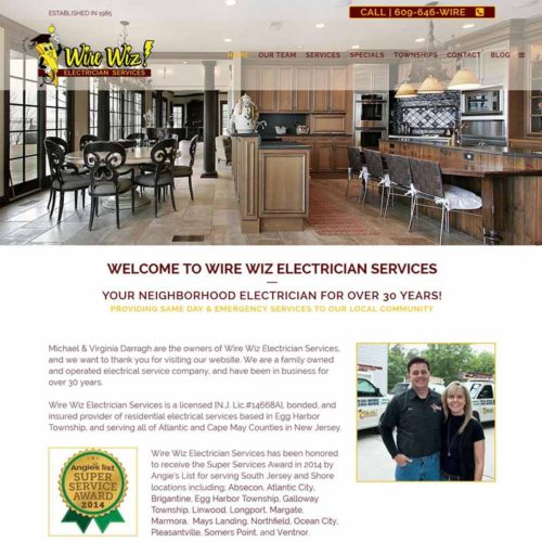 Wire Wiz Electrician Services Website Design Home Page | GET FOUND ONLINE