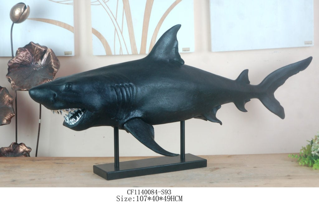 A funky Real Size Shark on Stand with Silver Metallic Groovy Jaws, a true statement of uniqueness & bold character taming the scariest ocean predator, ideal for indoor and covered outdoor areas.