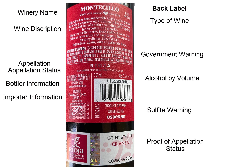 Back label of Spanish Wine