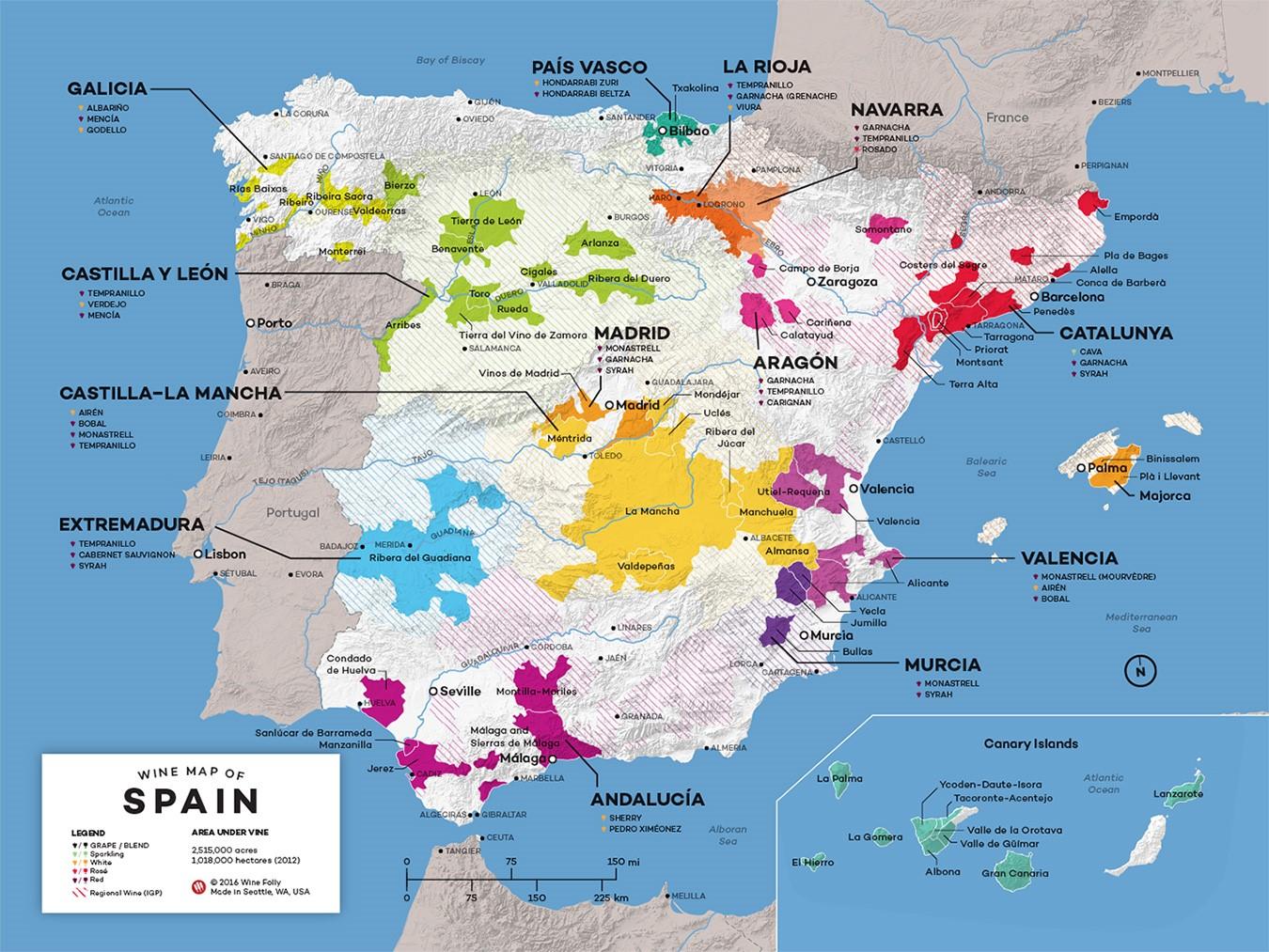 Map Of Spain's Wine regions by Wine Folly
