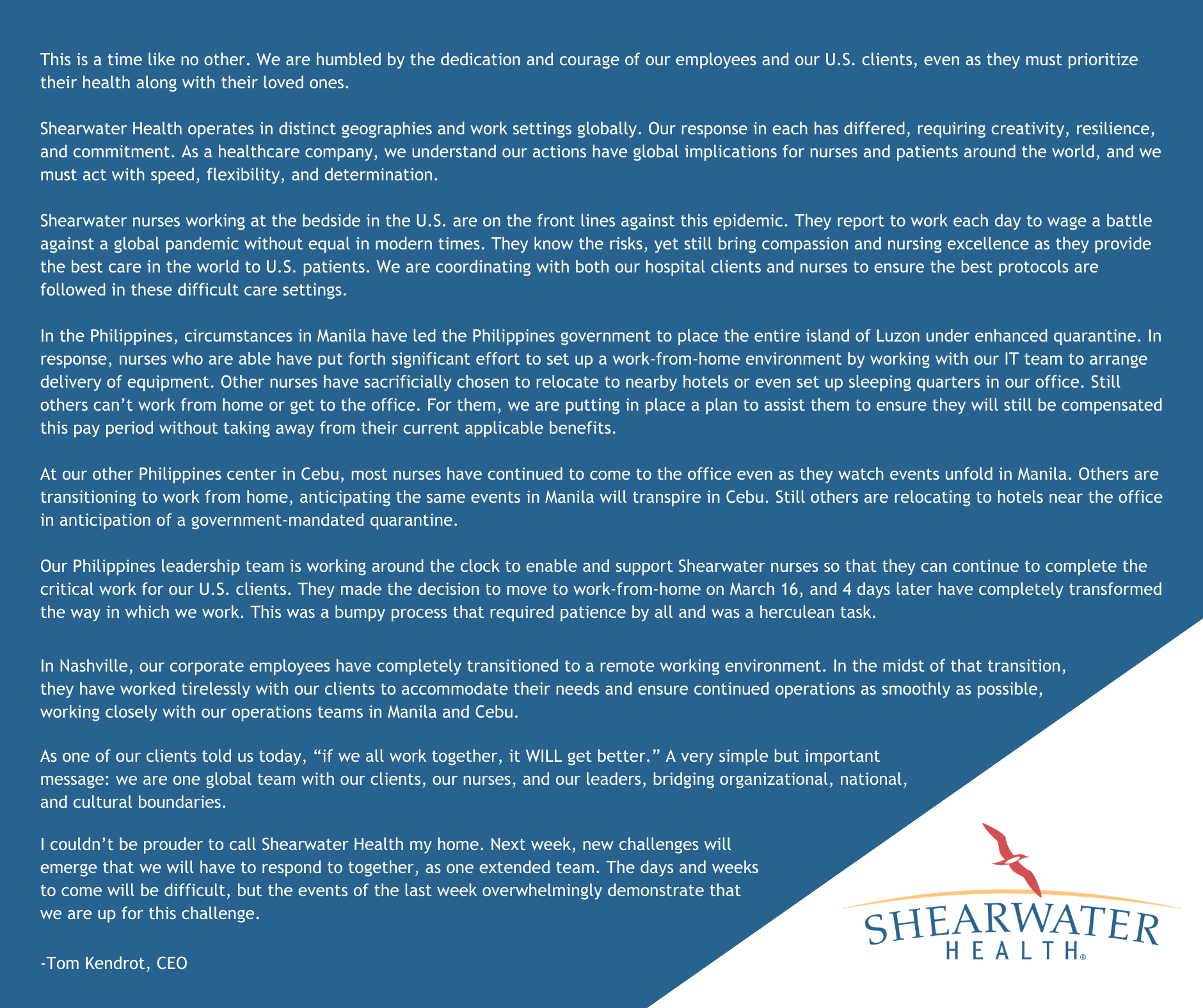 COVID-19 Message from Shearwater CEO Tom Kendrot