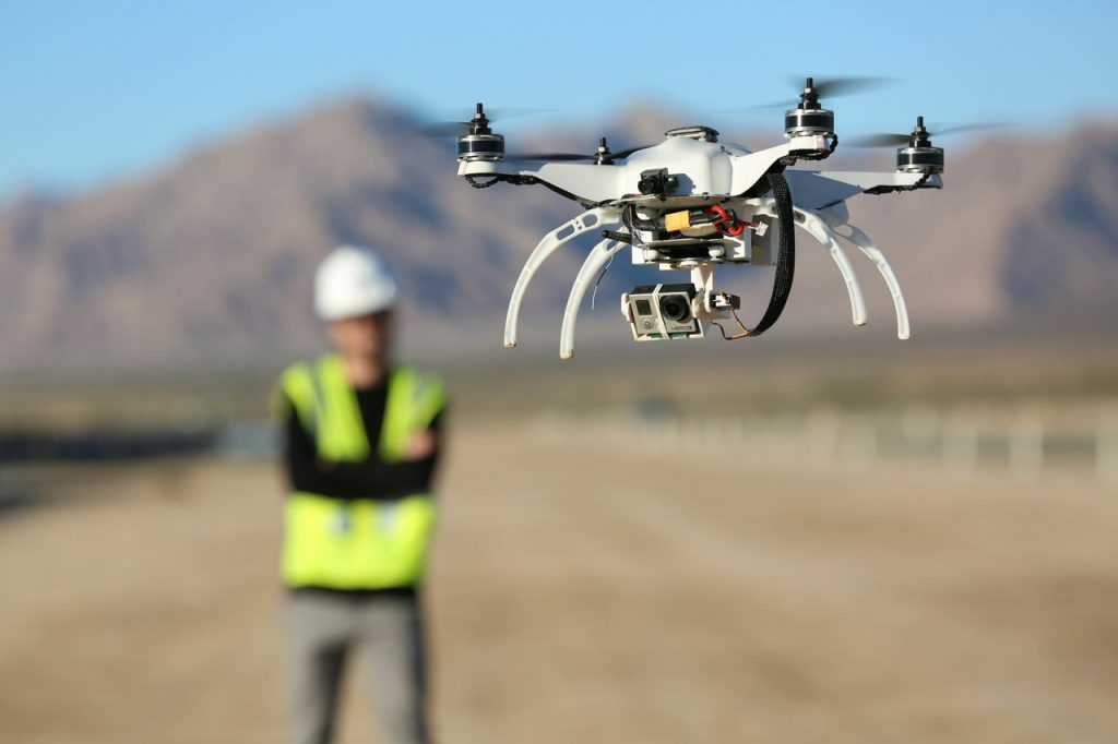 drone inspections at construction site