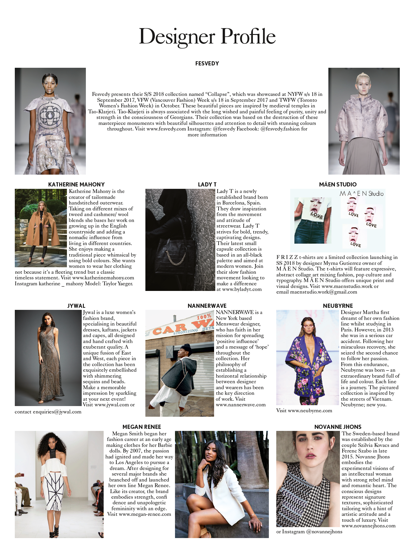 Vogue January 2018 Katherine Mahony Designer Profile