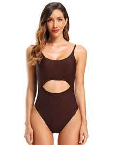 Brown One Piece cut out bathing suit.