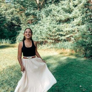 skirt, crop top