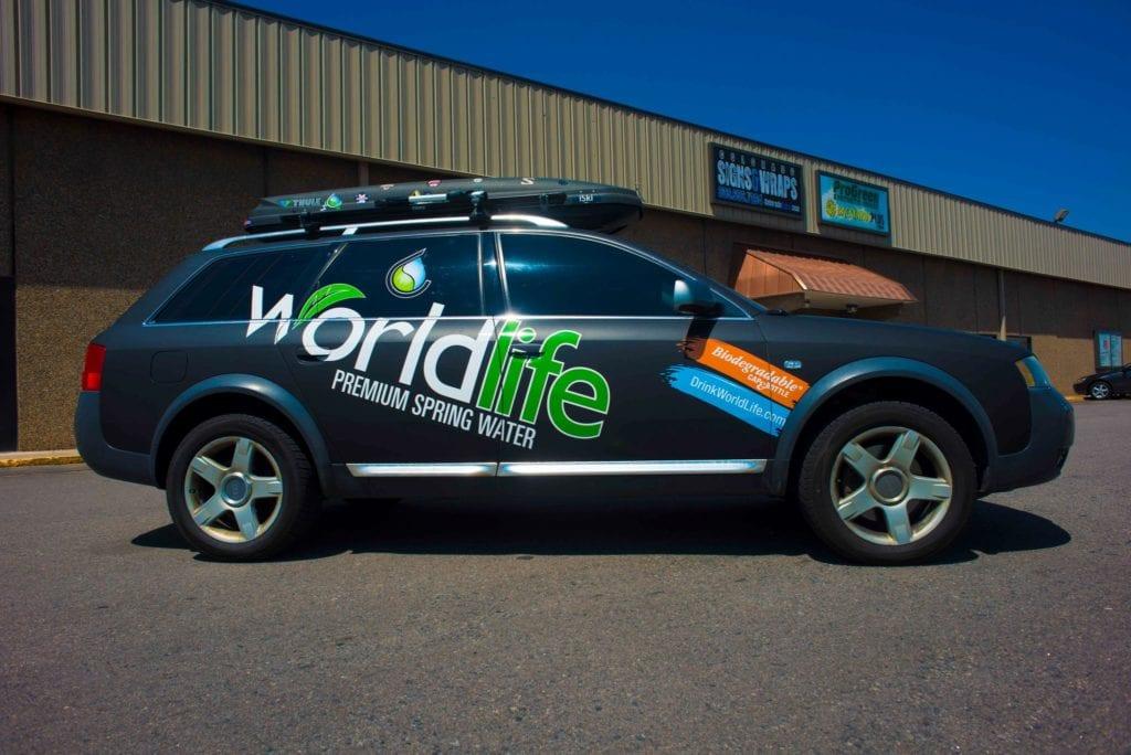 Vehicle Wrap - world life matte black wrap