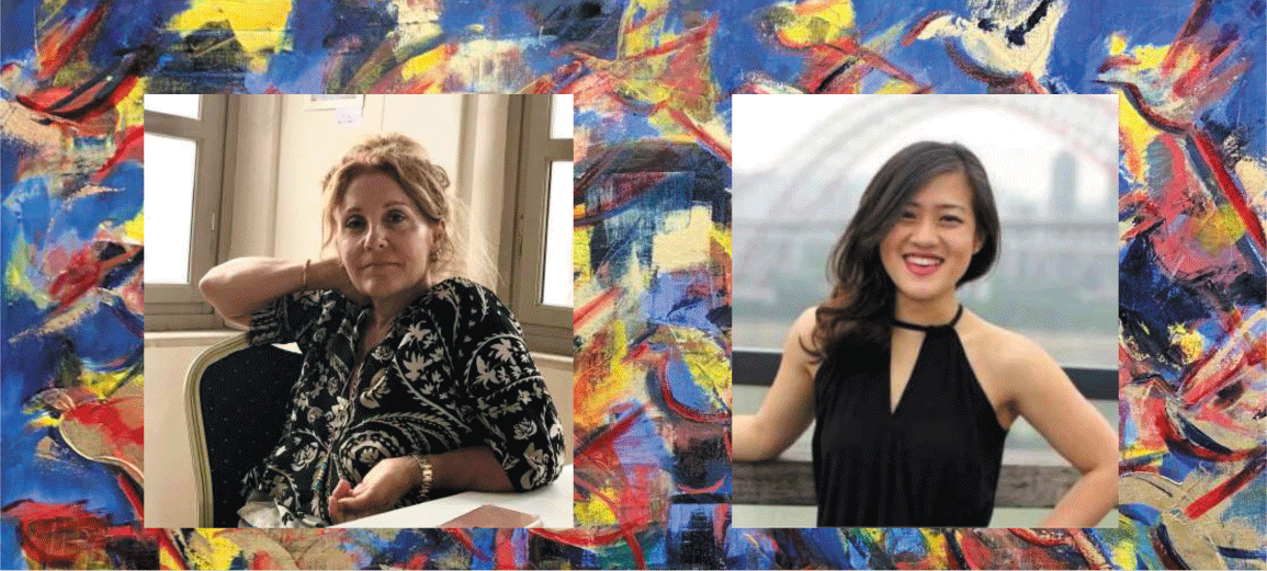 CWNY Nov 13 2020 Art Sale pics with colorful brushstroke background with photos of artist Argie Moutafis-Agelarakis (left) and violinist Erica Quach (right)