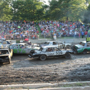 Demolition Derby at Ford County Fair in Melvin, Illinois
