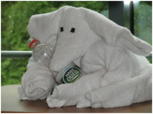 Elephant made from a towel at hotel