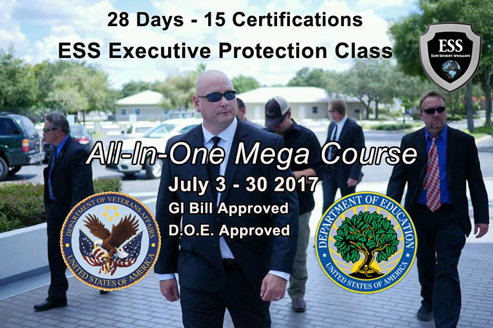 Executive Protection Training in Tampa July 3-30 - VA Approved - D.O.E. Approved