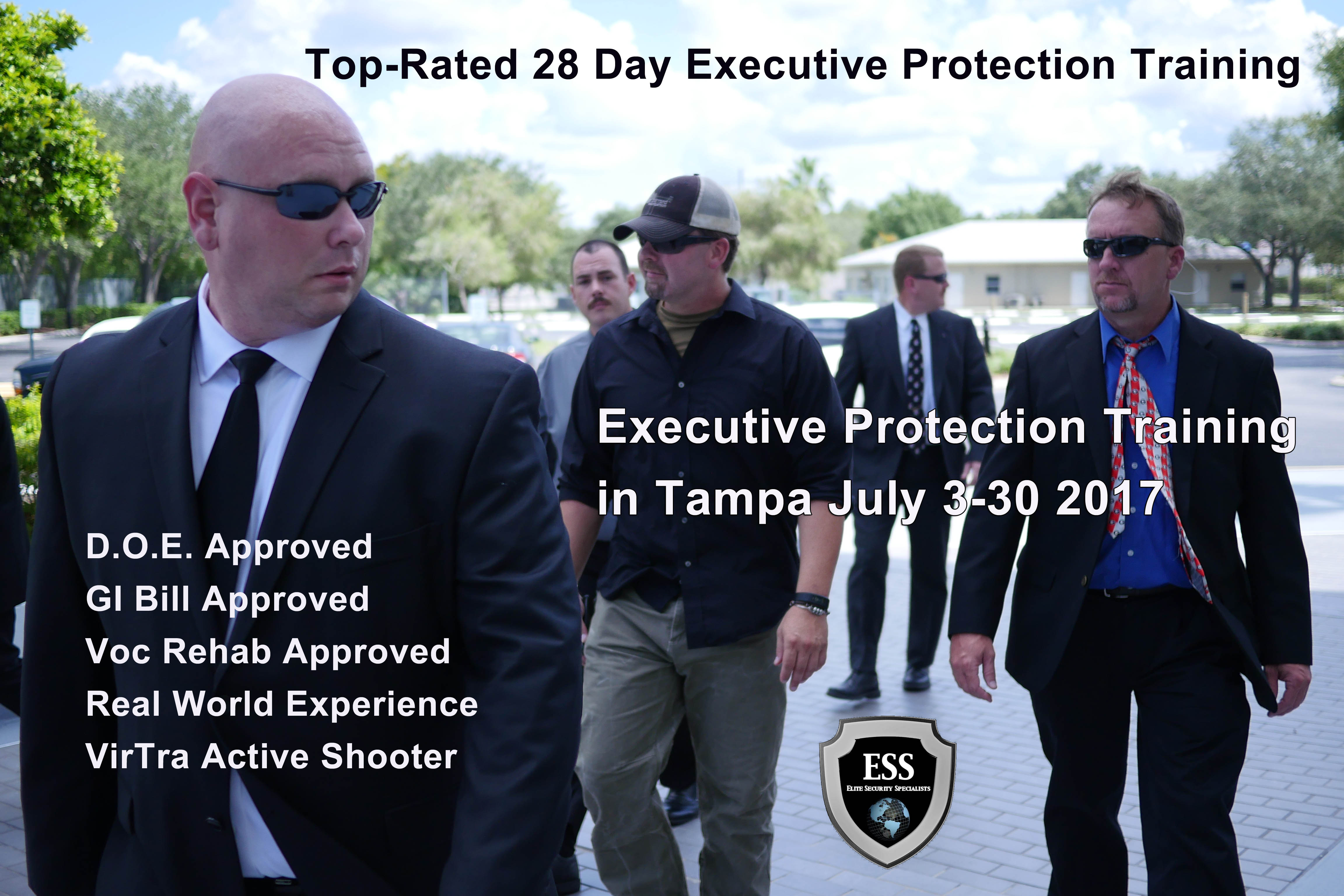 Executive Protection Training in Tampa July 3-30 2017