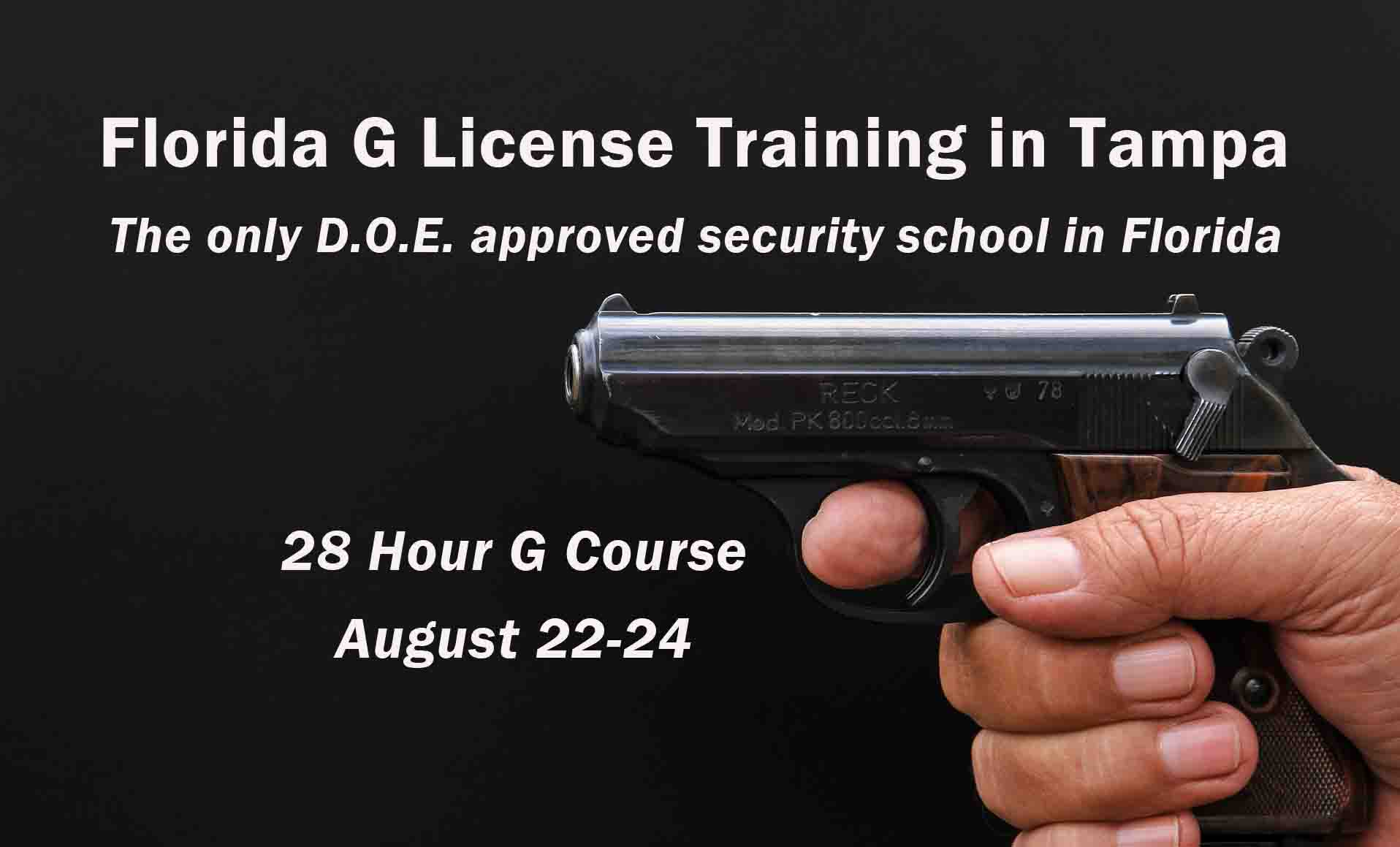 Florida G License Training in Tampa August