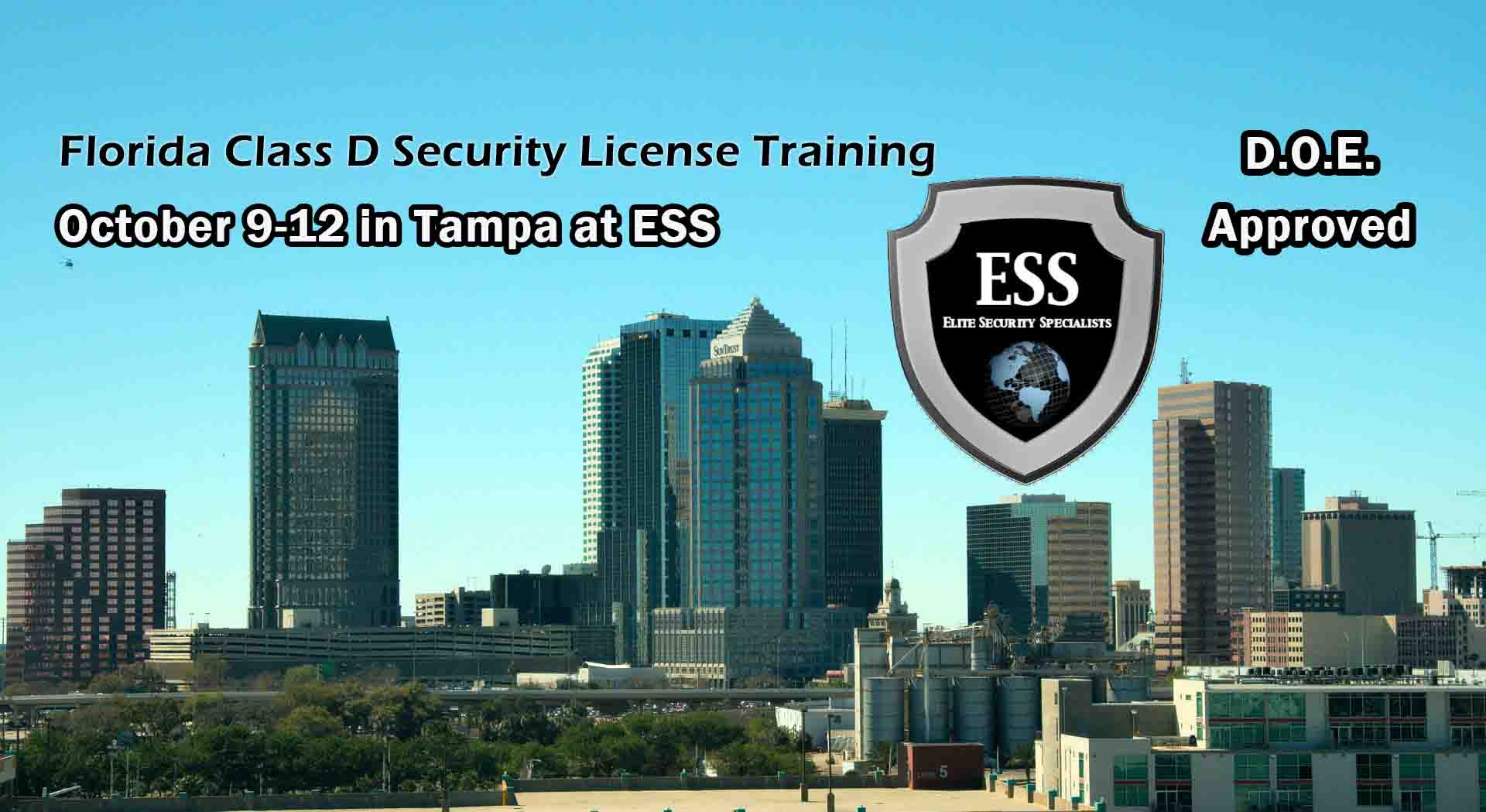 Florida D Security License Training in Tampa October
